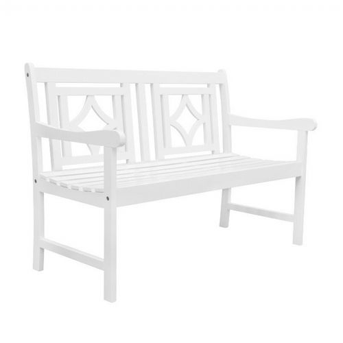Bradley Diamond Outdoor Patio 4ft Bench - White V1830