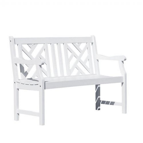 Bradley Modern Outdoor Patio 4ft Wood Garden Bench - White V1631