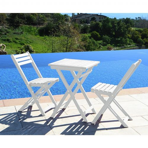 Bradley Outdoor Patio 3-Piece Wood Bistro Set - White V1807