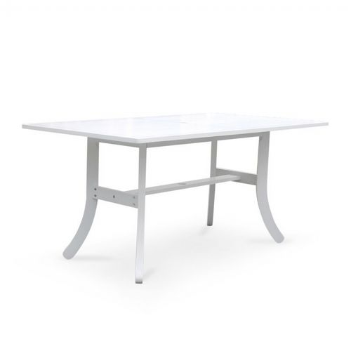 Bradley Rectangle Outdoor Dining Table with Curvy Legs - White V1337