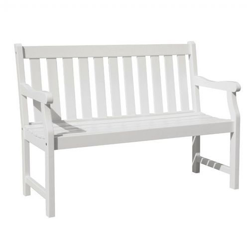 Bradley Slatted Outdoor Patio 4ft Wood Garden Bench - White V1628