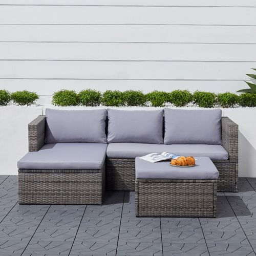 Cyrus Compact Outdoor Rattan 3-Piece Sectional Sofa Set with Cushion