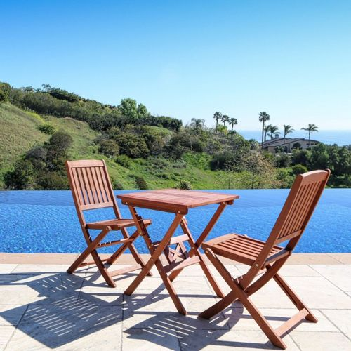 Malibu 3-Piece Wood Outdoor Patio Bistro Set V03SET1