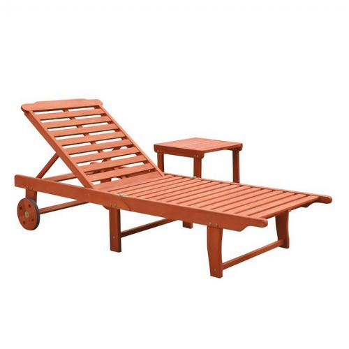 Malibu Outdoor Patio Wood 2-Piece Beach & Pool Lounge Set V1802SET1