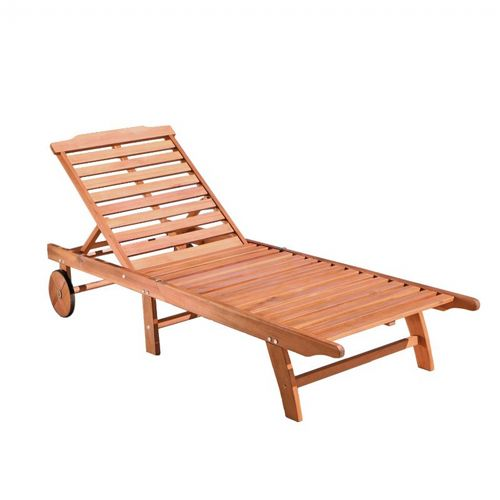 Malibu Outdoor Wood Folding Sunbathing Chaise Lounge V255