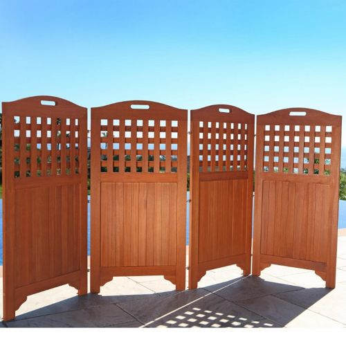 "Malibu Outdoor Wood Privacy Screen with 4 Panels - 46"" V163"