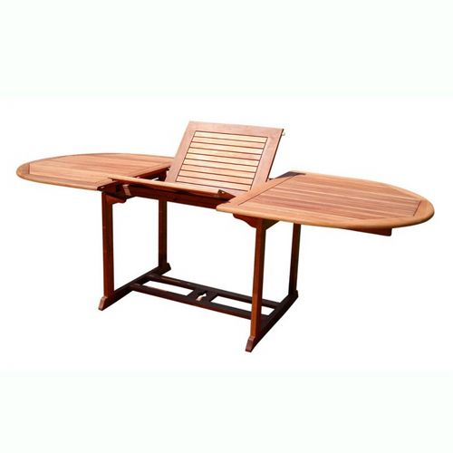 Malibu Oval Outdoor Extension Table with Foldable Butterfly - Wood V144