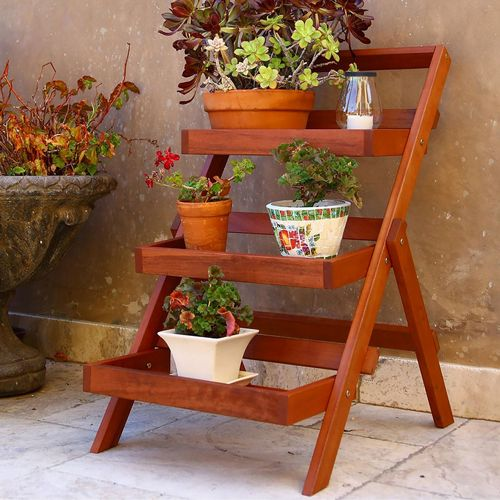 Malibu Three-layer Wood Large Garden Plant Stand V1512