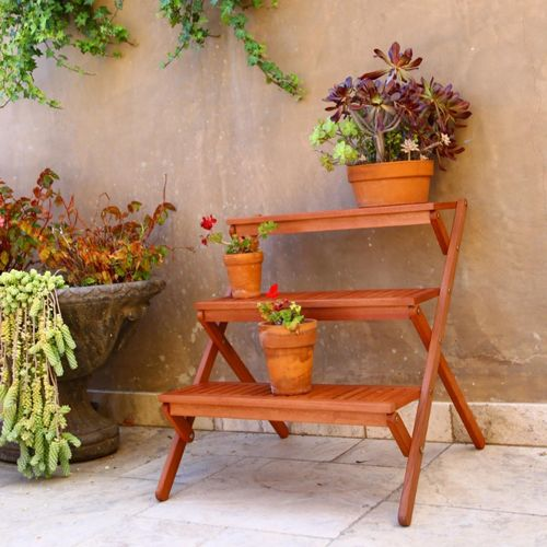 Malibu Three-layer Wood Medium Garden Plant Stand V499