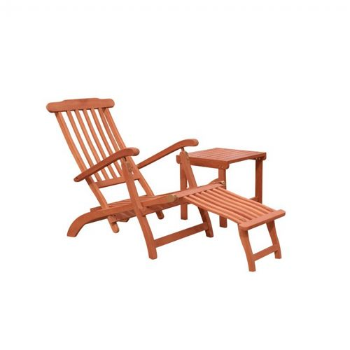 Malibu Wood Outdoor Patio 2-Piece Chaise Lounge Set V1802SET3