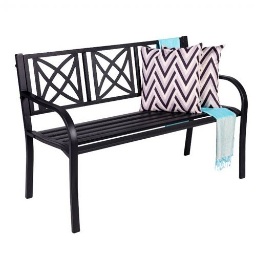 Paracelsus 4ft Metal Garden Bench in Black V1811