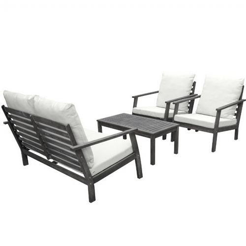 Renaissance 4 piece Outdoor Patio Seating Set - Hand-scraped Wood V1808SET1