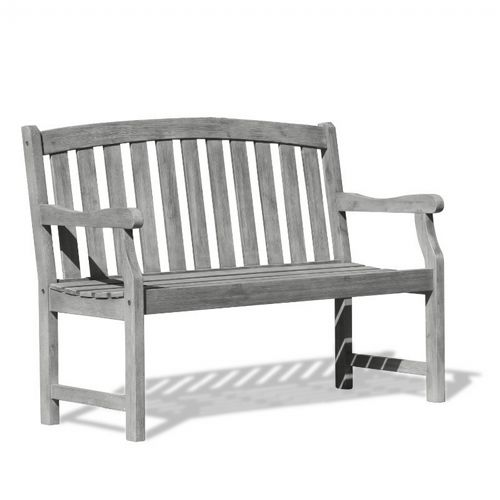 Renaissance Classic Outdoor Patio 4ft Hand-scraped Wood Garden Bench - Vista Gray V1622