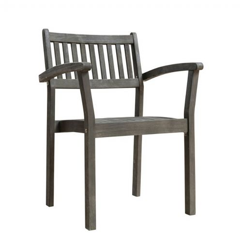 Renaissance Slatted Outdoor Patio Stacking Armchair - Hand-scraped Wood V1805