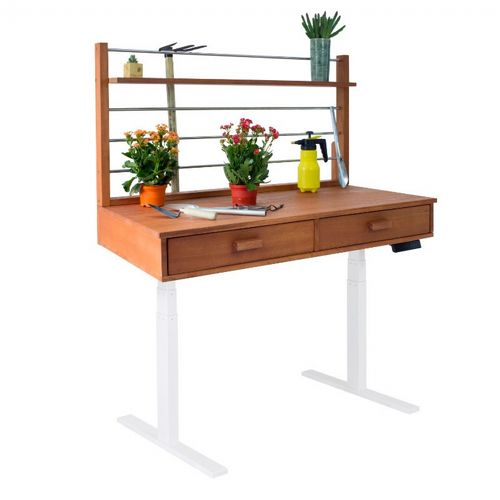 Sit to Stand Adjustable Height Potting Bench with Natural Wood Finish and White Frame V1705