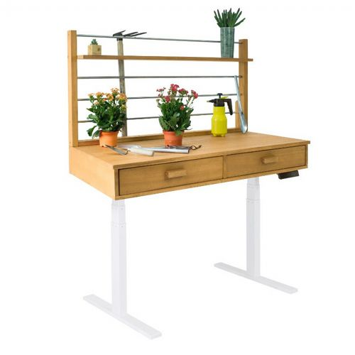 Sit to Stand Adjustable Height Potting Bench with Sand-splashed Finish And White Frame V1708