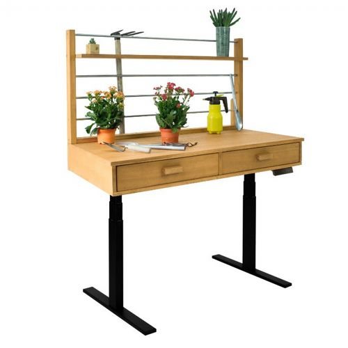 Sit to Stand Adjustable Height Potting Bench with Sand-splashed Finish and Black Frame V1709