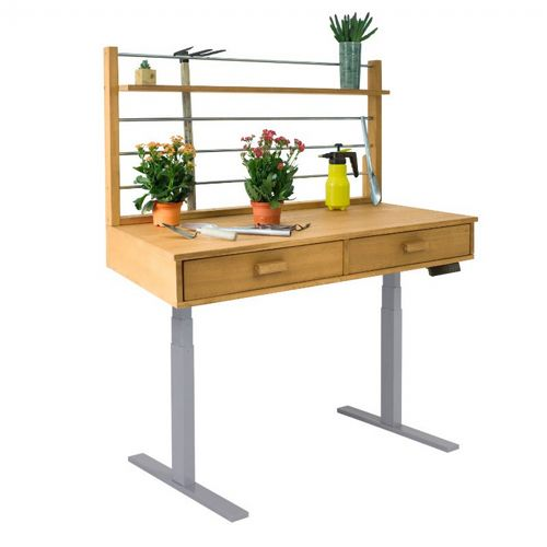 Sit to Stand Adjustable Height Potting Bench with Sand-splashed Finish and Grey Frame V1710
