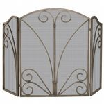 3 Fold Venetian Bronze Screen With Decorative Scroll Work BR-S-1662