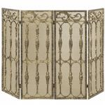 4 Fold Antique Gold Cast Aluminum Screen BR-S-5531