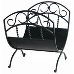 Black Wrought Iron Log Rack With Scrolls BR-W-1035