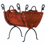 Olde World Iron Log Holder With Suede Leather Carrier BR-W-1196