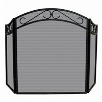 3 Fold Black Wrought Iron Arch Top Screen With Scrolls BR-S-1088