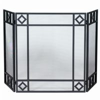 3 Fold Black Wrought Iron Screen With Diamond Design BR-S-1194