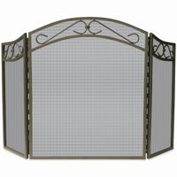 3 Fold Bronze Wrought Iron Arch Top Screen With Scrolls BR-S-1638