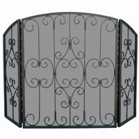 3 Fold Graphhite Screen With Decorative Scrollwork BR-S-1981