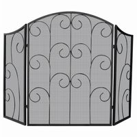 3 Panel Black Wrought Iron Screen With Decorative Scroll BR-S-1015