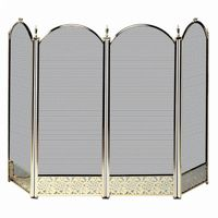 4 Fold Polished Brass Screen With Decorative Filigree BR-S-2115
