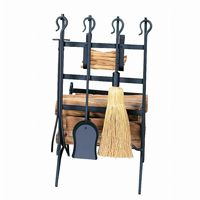 Black Log & Kindling Rack With Fire Tools BR-W-1246