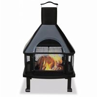 Black Modern Chimenea Fireplace BRWAF1013C