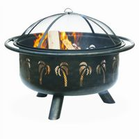 Oil Rubbed Bronze Outdoor Fire Pit with Palm Design BRWAD850SP