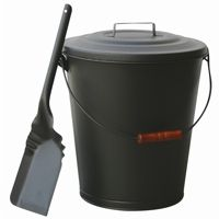 Olde World Iron Finish Ash Bin With Lid And Shovel BR-C-1724B