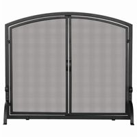 Single Panel Black Wrought Iron Screen With Doors, Large BR-S-1064
