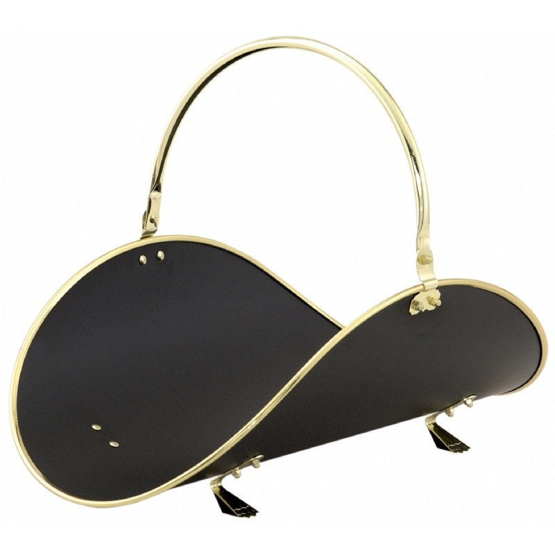 "21"" Polished Brass / Black Woodbasket With Polished Brass Trim"