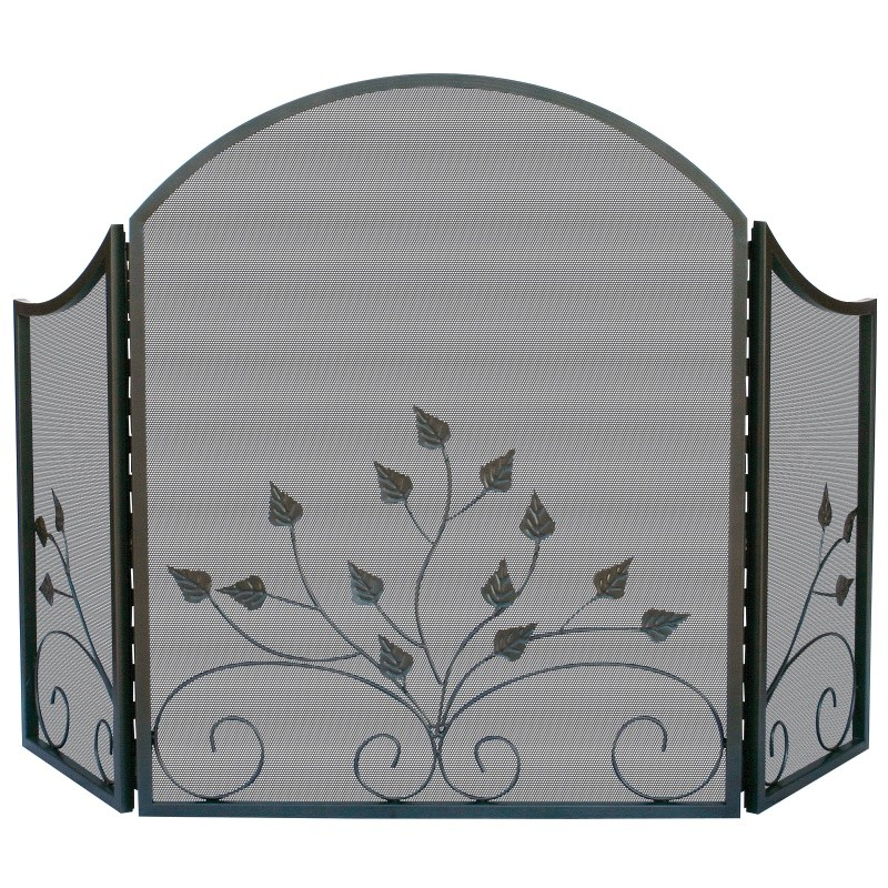 3 Fold Arch Top Graphite Screen W / Leaves : Fire Pits & Fireplaces