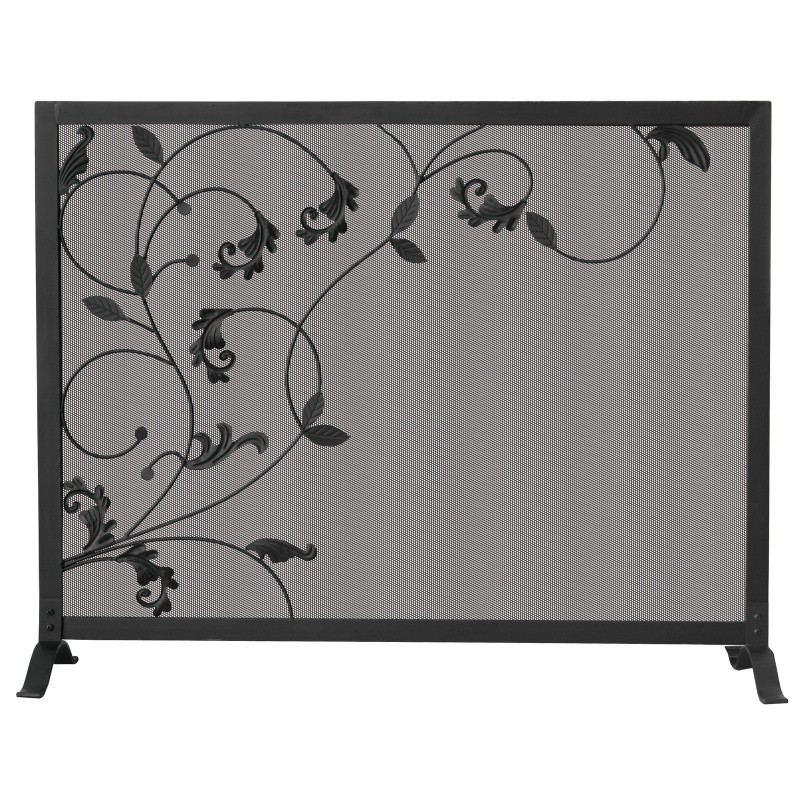 3 Fold Black Screen With Flowing Leaf Design