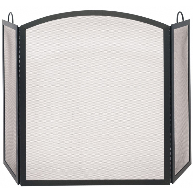 3 Fold Black Wrought Iron Arch Top Medium Screen : Fire Pits & Fireplaces