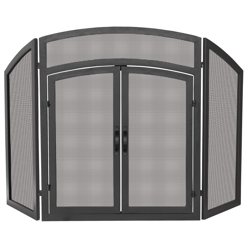 3 Fold Black Wrought Iron Arch Top With Doors : Fire Pits & Fireplaces