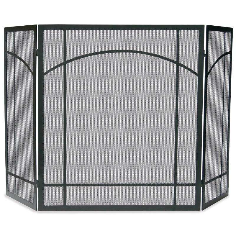 3 Fold Black Wrought Iron Mission Screen : Fire Pits & Fireplaces