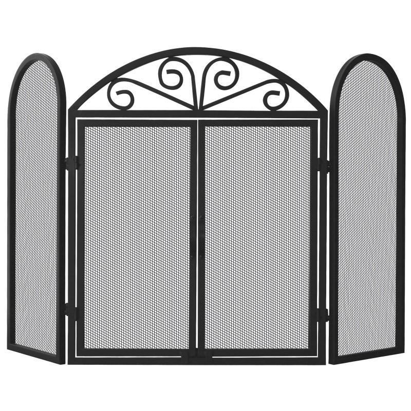 3 Fold Black Wrought Iron Screen With Scrolls