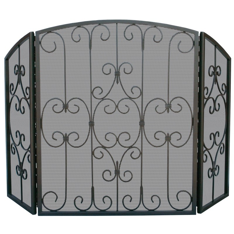 3 Fold Graphhite Screen With Decorative Scrollwork