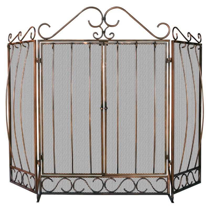 3 Fold Venetian Bronze Screen With Bowed Bar Scroll Work