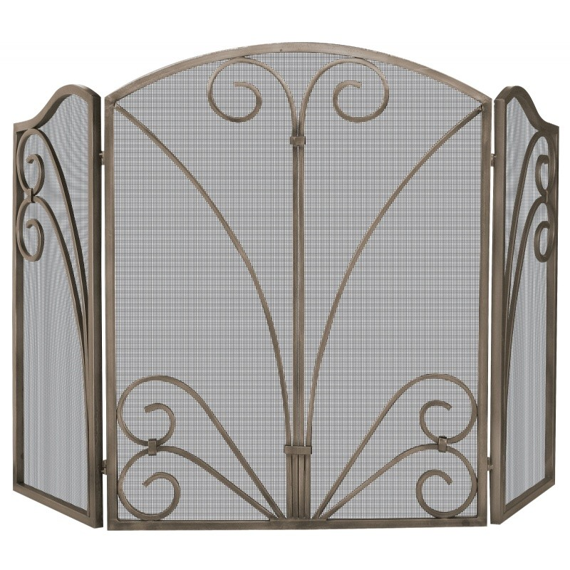 3 Fold Venetian Bronze Screen With Decorative Scroll Work