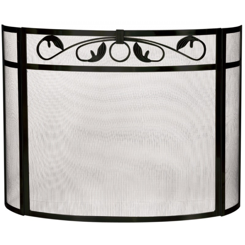 3 Panel Black W. I. Bow Screen With Top Scroll Design