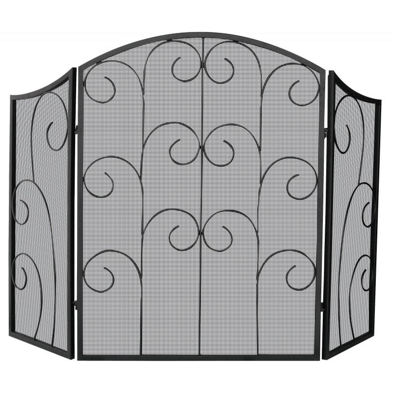 3 Panel Black Wrought Iron Screen With Decorative Scroll : Fire Pits & Fireplaces