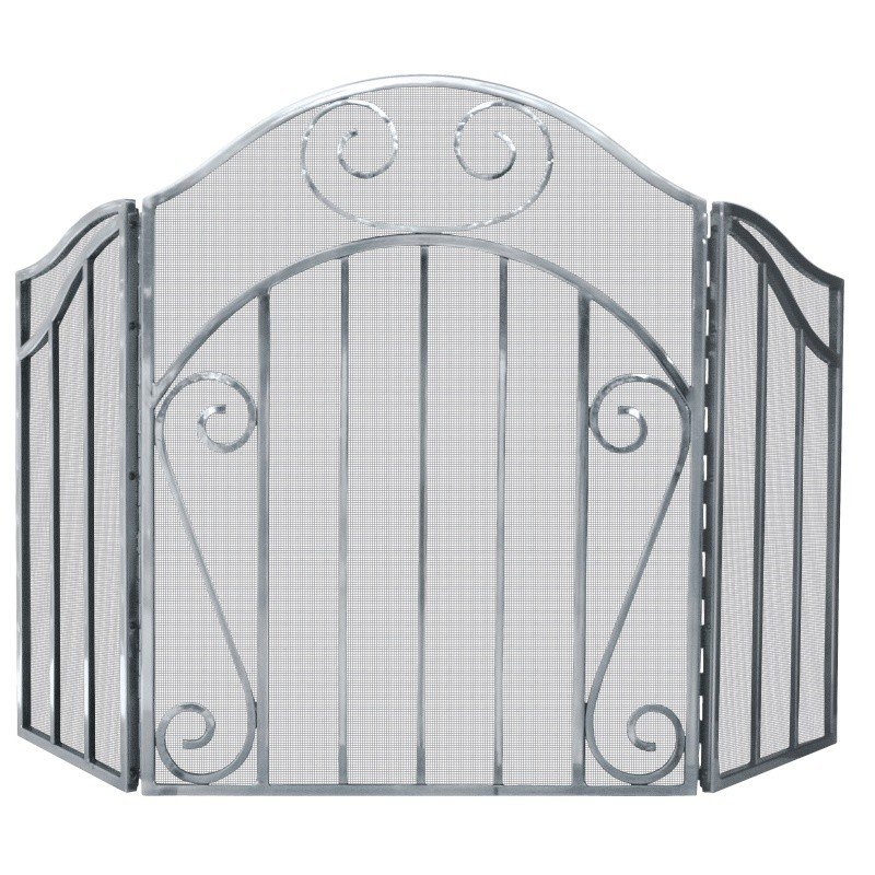 3 Panel Heavy Pewter Screen With Decorative Scroll